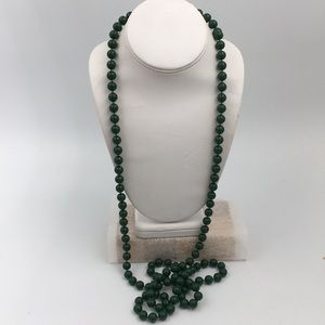 Vintage Costume Long Green Beads Necklace